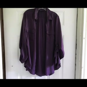 Silky lavender long-sleeve blouse from Apt 9.  XL